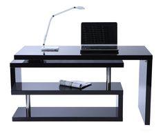 Escritorio de diseño negro lacado amovible MAX - Zoom