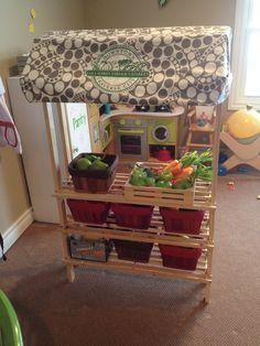 Mini version of Grandma's local farmer's market for Olivia and Will