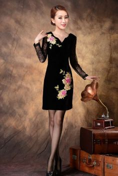 Black with Short Sleeve Cheongsam - The floral print and lace sleeves makes this dress beautiful and classy. After all, one can never go wrong with floral and lace! www.kawaiikawaii.my #black_short_sleeve_cheongsam #black_cheongsam #long_sleeve_cheongsam #lace_cheongsam_dress #Chinese_apparel