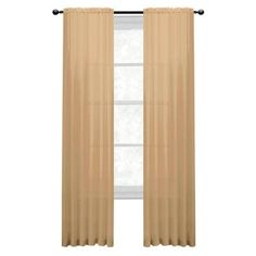 Window Elements Diamond Sheer Gold Rod Pocket Extra Wide Curtain Panel, 56  In. W