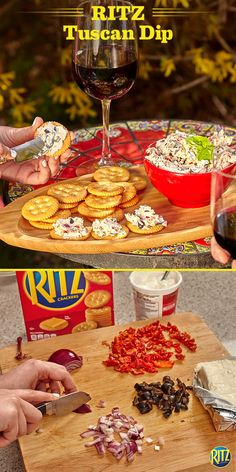 This RITZ cracker Tuscan Dip will transport you to the warm hills of Tuscany. Chopped olives, sun-dried tomatoes, and onions are mixed with cream cheese and sour cream for a delicious dip that pairs great with RITZ crackers. Who needs a summer vacation? Life's Rich.