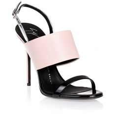Giuseppe Zanotti Pink and black sandal (£245) ❤ liked on Polyvore featuring shoes, sandals, pink, strappy sandals, silver metallic sandals, pink high heel sandals, strappy stiletto sandals and high heel shoes