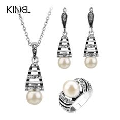 3Pcs Silver Color Pearl Jewelry Sets For Women Hollow Out Water Drop Necklace Earrings And Ring Vintage Wedding Jewelry Set