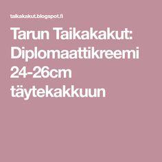 Tarun Taikakakut: Diplomaattikreemi 24-26cm täytekakkuun Desserts, Recipes, Food, Nice, Tailgate Desserts, Deserts, Recipies, Essen, Postres