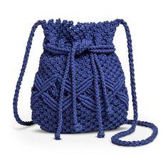 Women's Marcrame Cinch Closure Crossbody Handbag - Blue