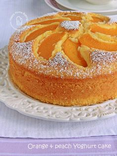 Happy Home Baking: Orange and peach yoghurt cake. Orange cake w/peaches on top. Peach Yogurt Cake, Peach Cake, Easy Cake Recipes, Baking Recipes, Dessert Recipes, Bolo Normal, Cake Ingredients, Coffee Cake, Let Them Eat Cake