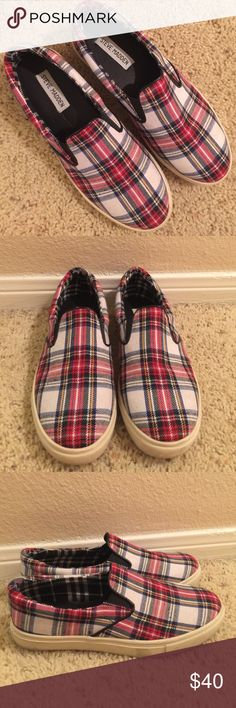 Plaid Steve Madden Slip On Sneakers Plaid Steve Madden Slip On Sneakers with navy, green, red, yellow and white Steve Madden Shoes Sneakers