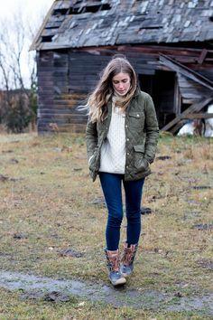 hunter boots, winter sweater
