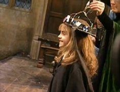 emma watson as hermione granger on the set of harry potter