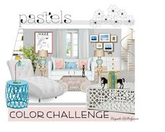 """""""Living Room - Pastel Palette"""" by viryabo on Polyvore featuring interior, interiors, interior design, home, home decor, interior decorating, PBteen, Jonathan Adler, Safavieh and TemaHome"""