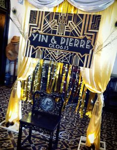 """Photography corner for a """"Great Gatsby"""" themed wedding. Design & setup by ParteeBoo - The Party Designers!"""