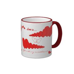 Red Heart Chain LOVE IS... Custom Coffee Mug