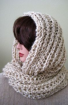 SALE  Beige Pearls Color Handknitted Cowl  by KnitsomeStudio, $35.00