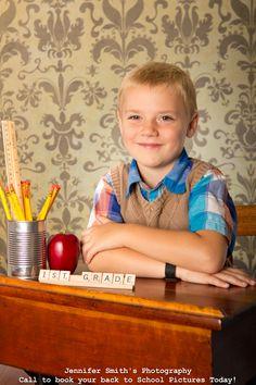 Back to School Portrait. Love the scrabble tiles. Use old desk?