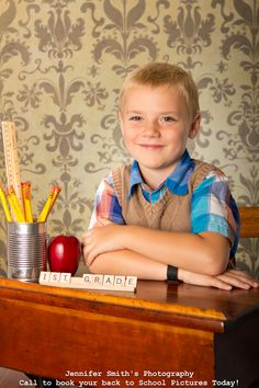 Back to School Portrait. Love the scrabble tiles. Use old desk?
