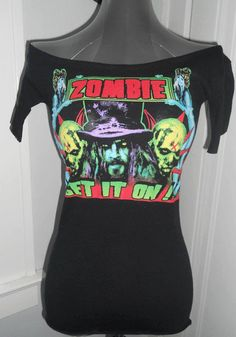 DIY METAL BAND SHIRT $20 Handmade ladies boat neck short sleeve  ROB ZOMBIE band shirt, ladies fit. One of kind shirt you wont find anywhere else, come stand out rather than fit in with this awesome heavy metal horror tshirt! For fans of Rob Zombie, Sheri Moon, Halloween, White Zombie, House of 1000 corpses, The Devils Rejects, Heavy Metal etc.. COME BUY ME!