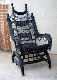 Antique Vintage Victorian Gothic Wicker Black Platform Glider Rocker Chair