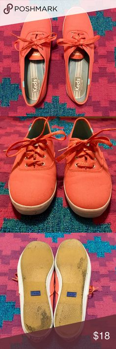 Keds flat lace up tennis shoes Cute coral color with glitter shoe laces. These shoes were worn maybe a total of 5 times. Perfect used condition. Keds Shoes Sneakers