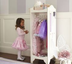 I would love this dress up vanity for Sophie Grace Dress Up Stations, Princess Room, Dress Up Wardrobe, Dress Up Closet, Dress Up Outfits, Doll Wardrobe, Dress Up Area, Kids Dress Up, Little Girl Dress Up