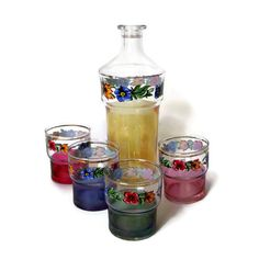 Vintage Glass Carafe with Floral Decals and Four Matching Glasses Red, Blue, Yellow, Green