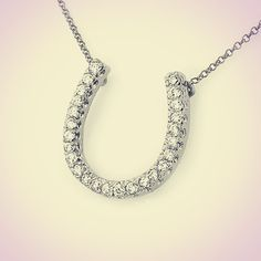 Diamond Horseshoe Pendant/Necklace Large by JewelersEnterprise