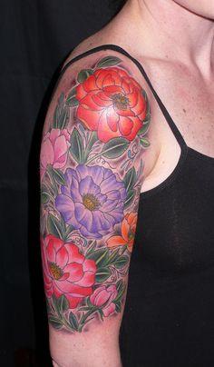 quarter sleeve tattoos flowers | Flower Sleeve Tattoos – Designs and Ideas