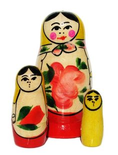 Babushka Semenov Nesting Dolls 3-pc Yellow Top by Great Russian Gifts