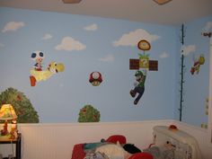 Super Mario Bros, Wii Super Mario Bros little boy's room. My family and I decorated this Super Mario Bros. room for my nephew's 4th birthday! It includes a mixture of hand-painted elements, wall decals from Blik, and hand-made cardboard  flowers and other items that give it a 3-D effect., Used inspiration room from rate my space GMIKE1007 to paint Yoshi/Blue Toad. Thank you Gmike!!  , Boys' Rooms Design