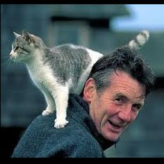 Michael Palin and cat, from a long ago source on Google.