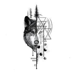 WOLF TATTOO HALF GEOMETRIC - Wolf Temporary Tattoo