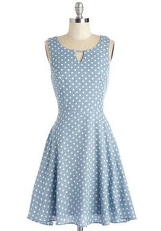 Dream a Whistle Dream Dress. Meander along a sunlit path while whistling and warbling a tune as pretty as this chambray dress! #blue #modcloth