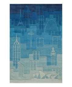 Another great find on #zulily! Blue Urban Landscape Rug by Lil Mo by Momeni Rugs #zulilyfinds