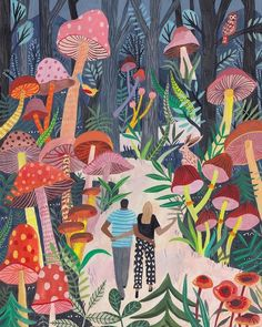 Illustration by Miranda Sofroniou. Art and illustration Art Inspo, Kunst Inspo, Painting Inspiration, Art And Illustration, Woodland Illustration, Illustrations And Posters, Mushroom Art, Guache, Art Design