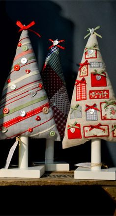KB - Handmade sewn appliqued Christmas trees