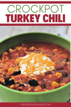 Do you need a delicious and hearty Turkey Chili Crock Pot recipe that will fill your belly but keep your waistline in check? This healthy and easy turkey chili recipe requires only 30 minutes of prep time, so it's great for hectic weekdays. Simply dice an onion and two bell peppers, brown a lb. of ground turkey, then throw all the remaining ingredients into a slow cooker. Your comfort food dinner will be ready in no time. #turkeychilicrockpot #turkeyrecipes #chilirecipecrockpot…