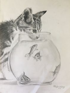 kitten and fishbowl sketch Sketch Ideas, Drawing Ideas, Fish Sketch, Fishbowl, Chinese Painting, Catfish, Nice Things, Pencil Drawings, Sketching