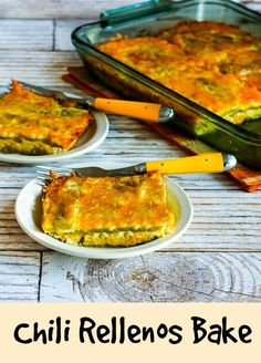 This easy recipe for Chile Rellenos Bake is #LowCarb, #GlutenFree, and #Vegetarian, and it's sure to wow guests whether you serve it for a spicy breakfast dish or cut into small squares and serve as an appetizer with toothpicks. [from KalynsKitchen.com]