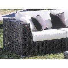 Hospitality Rattan Soho Patio Corner Lounge Chair with Cushion Sunbrella Outdoor Fabric: Glacier