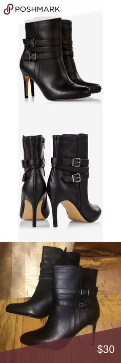 EXPRESS FAUX LeaTher DOUBLE BUCKLE ANKLE BOOTIES Strut your stuff in these sexy faux leather Express booties. NWT. Side Zip. Size 8. Double Buckle Ankle Booties. 3 1/2 heel. Express Shoes Ankle Boots & Booties