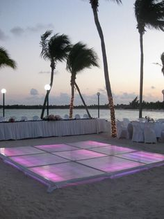 Can you imagine what this dance floor will look like at night? Beach receptions can totally rock. wedding reception Wedding Dance Floor Ideas: The Secret to an Epic Wedding Reception Dance Floor Wedding, Beach Wedding Reception, Beach Wedding Favors, Wedding Reception Decorations, Destination Wedding, Night Beach Weddings, Backdrop Wedding, Wedding Weekend, Wedding Tips