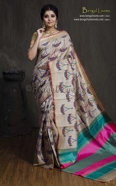 Pure Handloom Tussar Saree with Hand Blocked Kalamkari Print in Beige, Rani and Green Tussar Silk Saree, Printed Sarees, Vivid Colors, Print Patterns, Hot Pink, Sari, India, Fancy, Beige