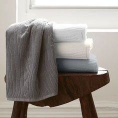 Organic Wood Grain Towels from West Elm. Smelly Towels, Bath Towels, Bathroom Towels, Master Bathroom, Condo Bathroom, Bath Linens, Kitchen Towels, Old Pillows, Bathroom Fixtures