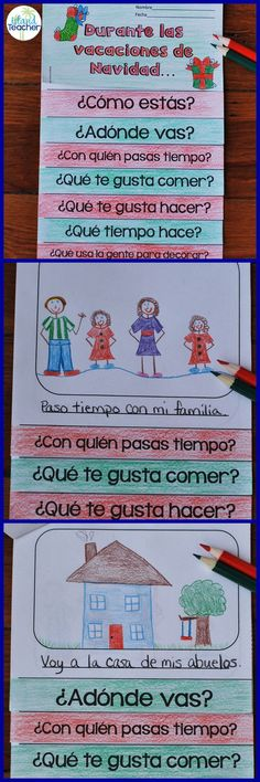 Spanish Christmas Vacation Flip Book. Students answer questions and add pictures to talk about their Christmas vacation.
