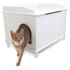 Shop Designer Catbox Hidden Litter Box Enclosure Furniture - Overstock - 7638119 Pet Furniture, Furniture Deals, Weathered Furniture, Wooden Furniture, Dog Proof Litter Box, Litter Pan, Cat Litter Box Enclosure, Litter Box Covers, White Chests