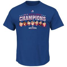 Majestic Chicago Cubs Royal 2016 World Series Champions Caricature T-Shirt