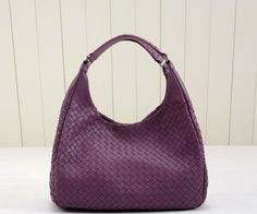 Classic Fashion Weave Sheepskin Leather Hobo Bag 5281S Purple