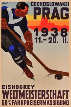 By Salac, Wereldkampioenschap IJshockey, V. Hockey Posters, Sports Posters, Ad Sports, Vintage Banner, Travel Ads, Old Signs, Sports Pictures, Advertising Poster, Vintage Travel Posters