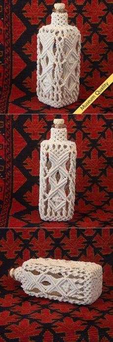Macrame Covered Antique Square Bottle circa от MacrameBottles