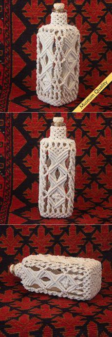 Macrame Covered Antique Square Bottle circa от MacrameBottles