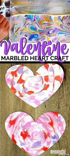 Making marbled paper is easy with a few simple ingredients. This Valentine's Day craft for kids and adults is wonderful for kids of all ages. It's a Valentine craft for toddlers, preschoolers, kindergarteners and older kids. Toddler Valentine Crafts, Toddler Crafts, Valentine's Day Crafts For Kids, Projects For Kids, Kid Crafts, Art Projects, Valentines Day Hearts, Valentine Day Love, Heart Crafts